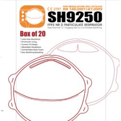 CAJA 20 MASCARILLAS SH9250 FFP2 NR D